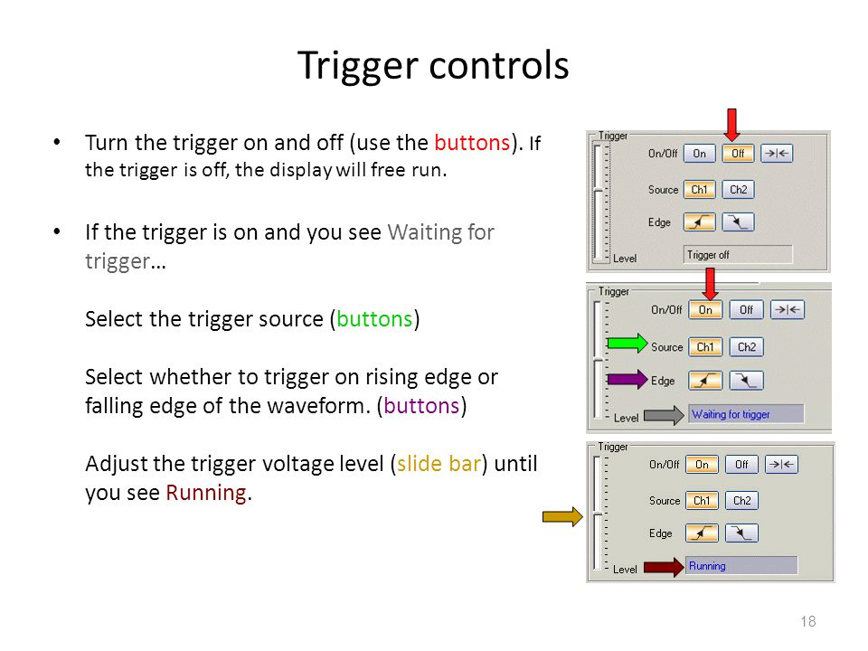 Trigger controls Turn the trigger on and off (use the buttons). If the trigger is off, the display will free run.