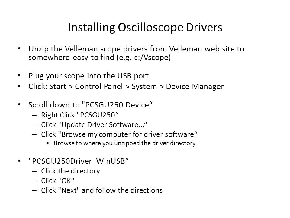 Installing Oscilloscope Drivers