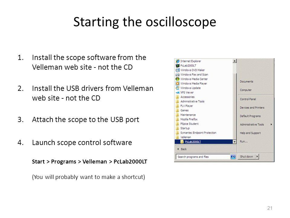 Starting the oscilloscope