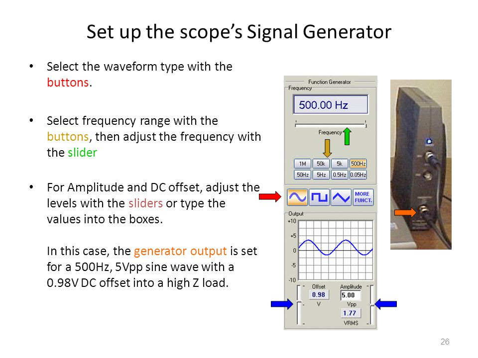Set up the scope's Signal Generator