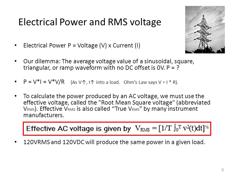 Electrical Power and RMS voltage