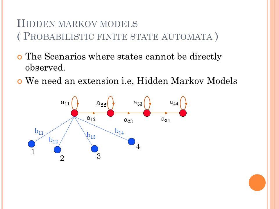Hidden markov models ( Probabilistic finite state automata )