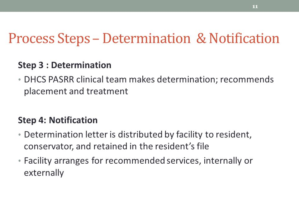 Process Steps – Determination & Notification
