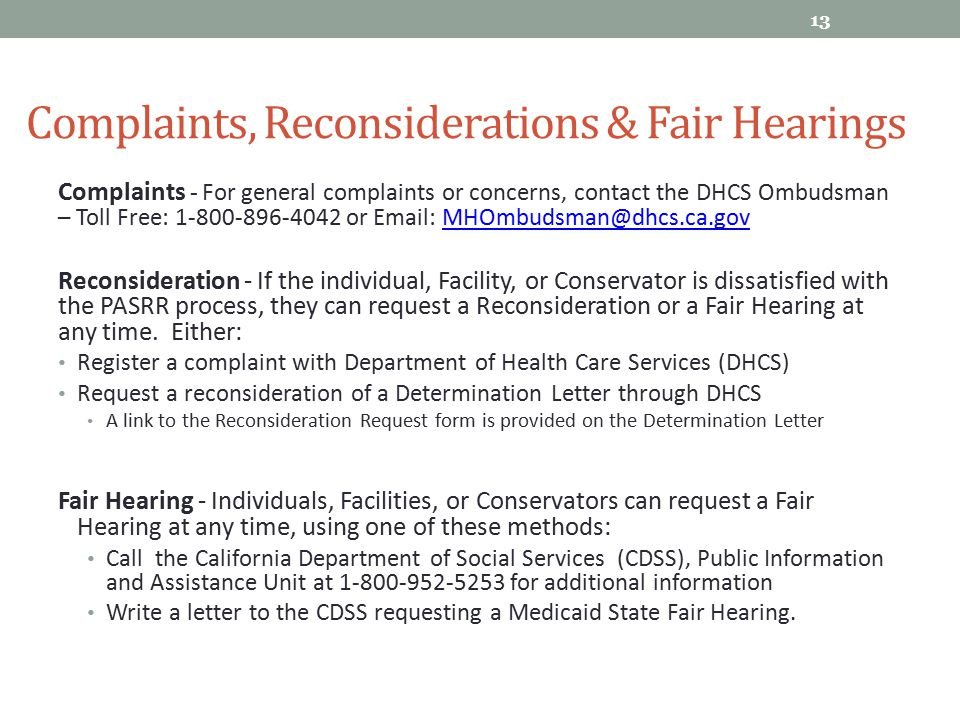 Complaints, Reconsiderations & Fair Hearings
