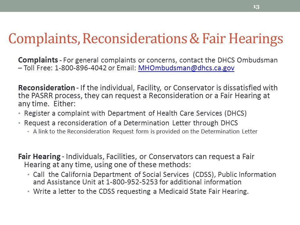 Complaints, Reconsiderations & Fair Hearings