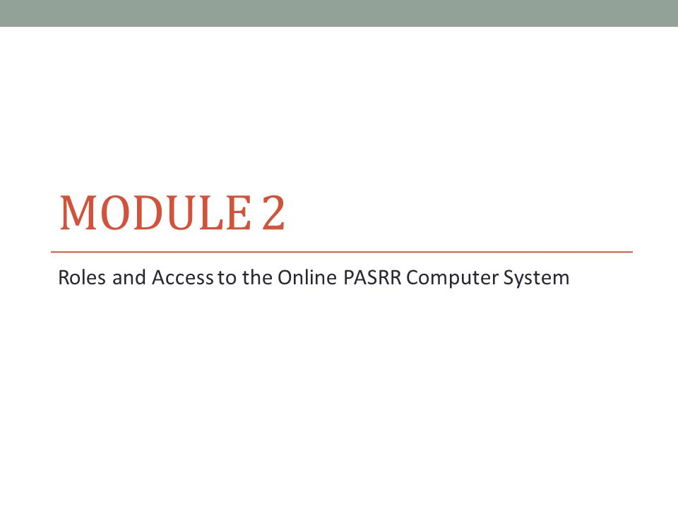 Roles and Access to the Online PASRR Computer System