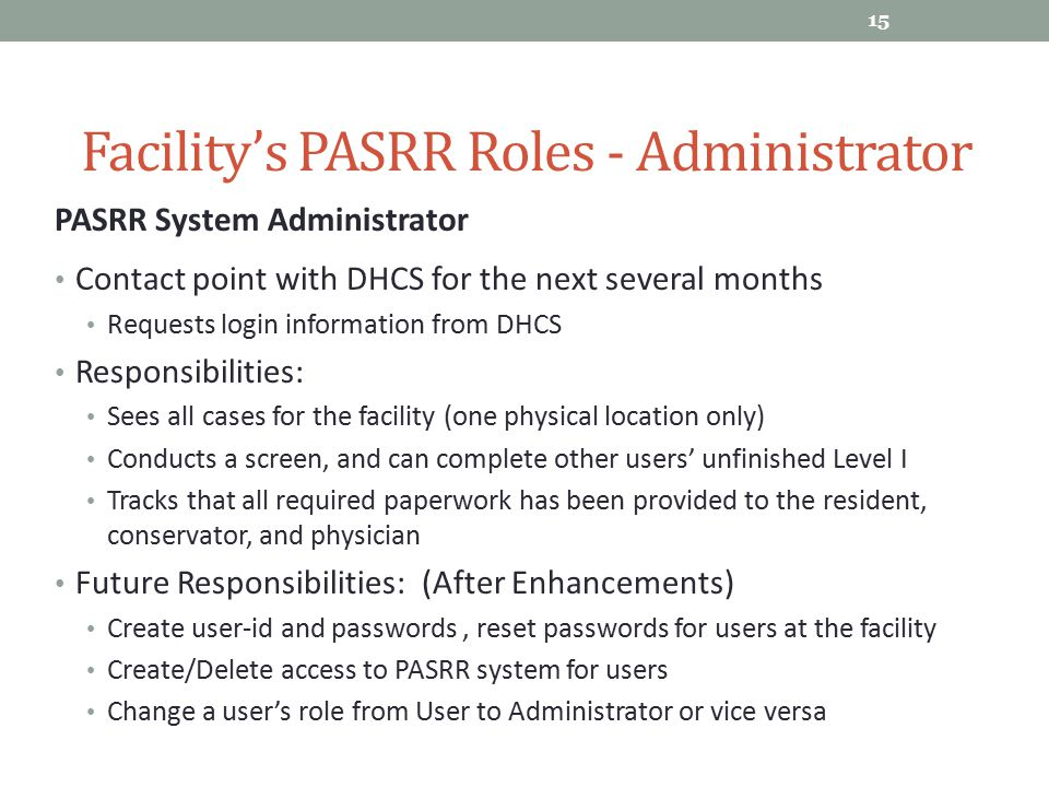 Facility's PASRR Roles - Administrator