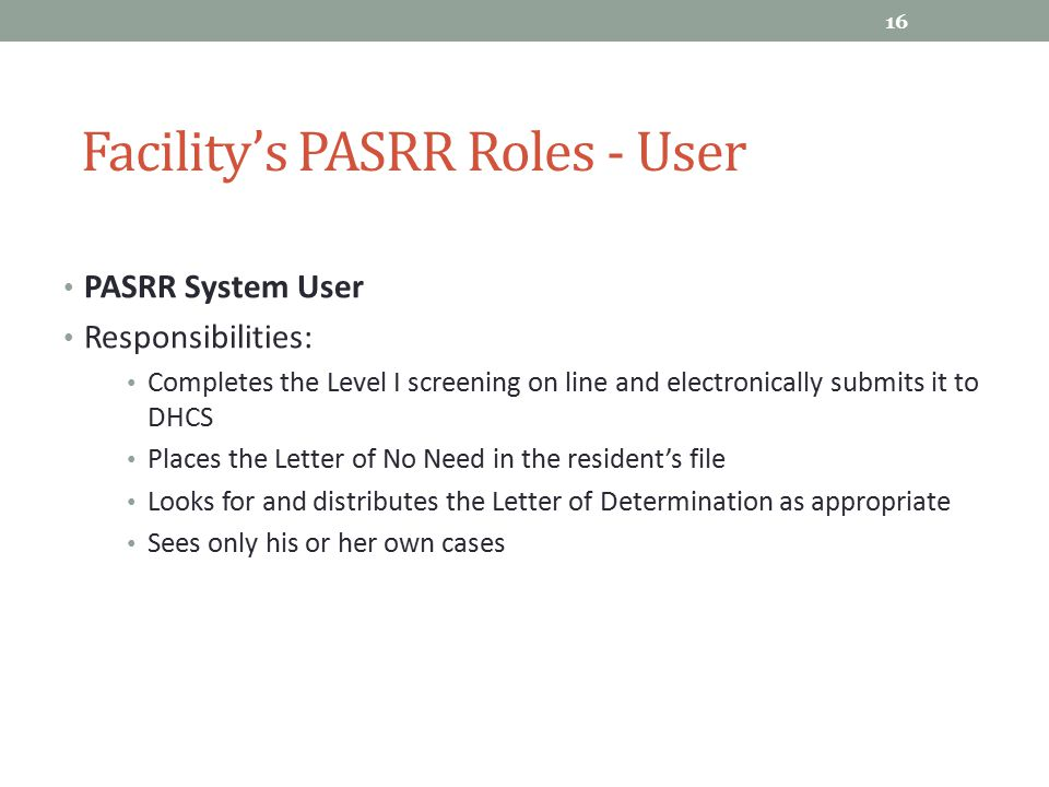 Facility's PASRR Roles - User