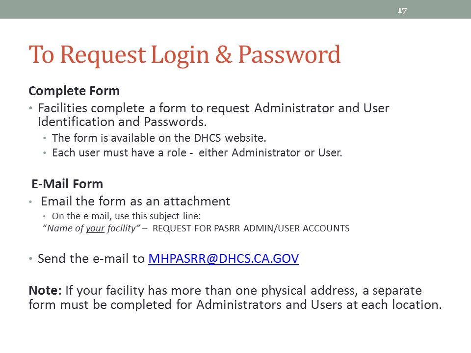 To Request Login & Password