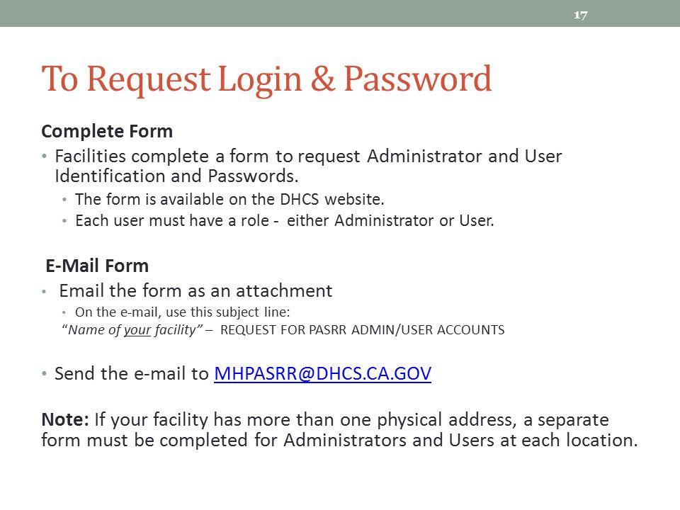 To Request Login & Password