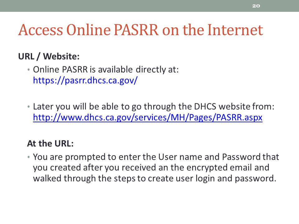 Access Online PASRR on the Internet