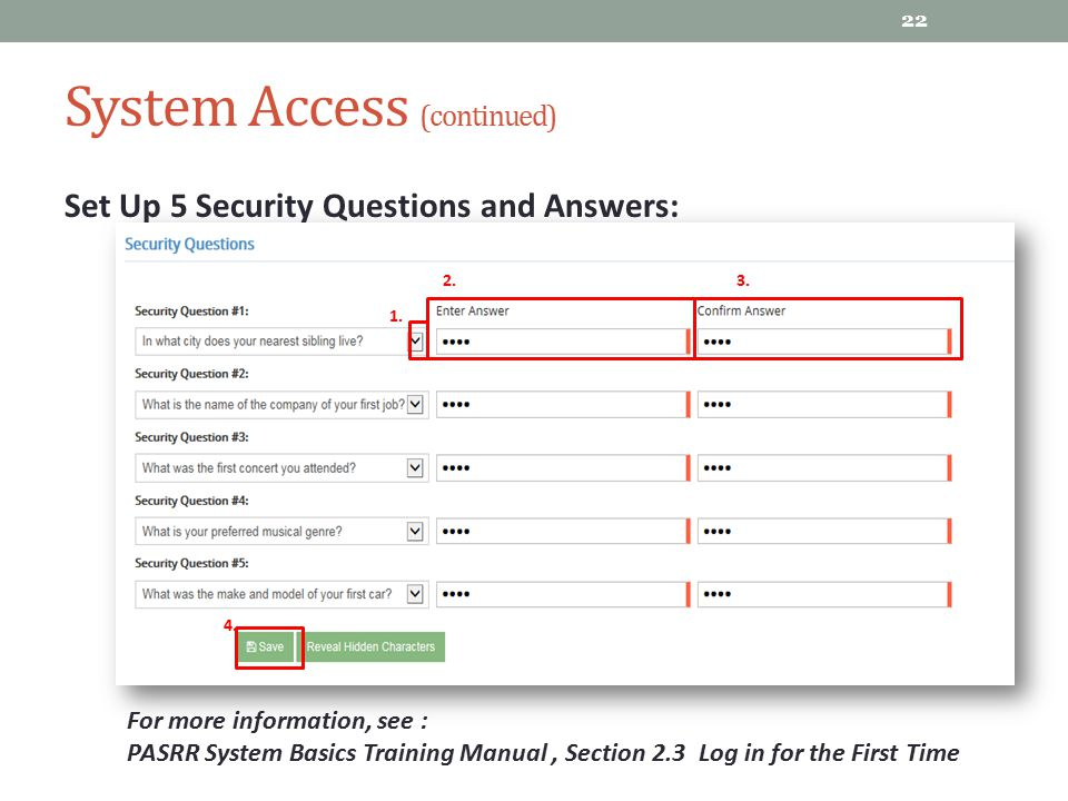 System Access (continued)