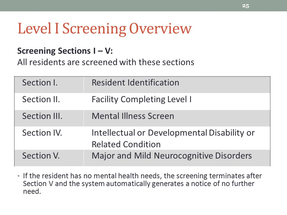 Level I Screening Overview