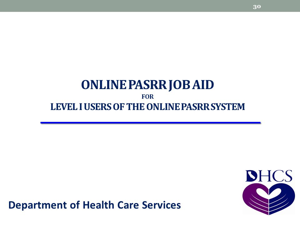 Online pasrr Job Aid for Level I users of the Online pasrr system