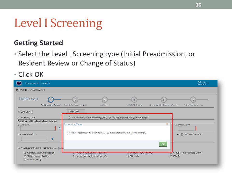 Level I Screening Getting Started