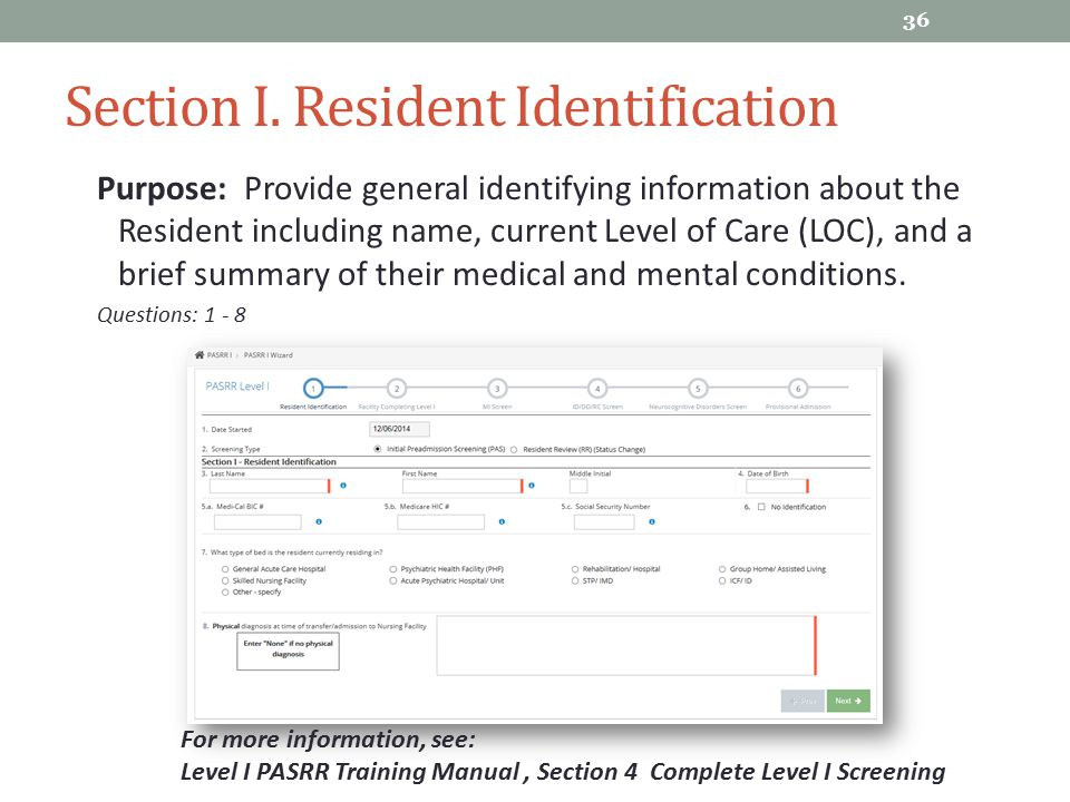 Section I. Resident Identification