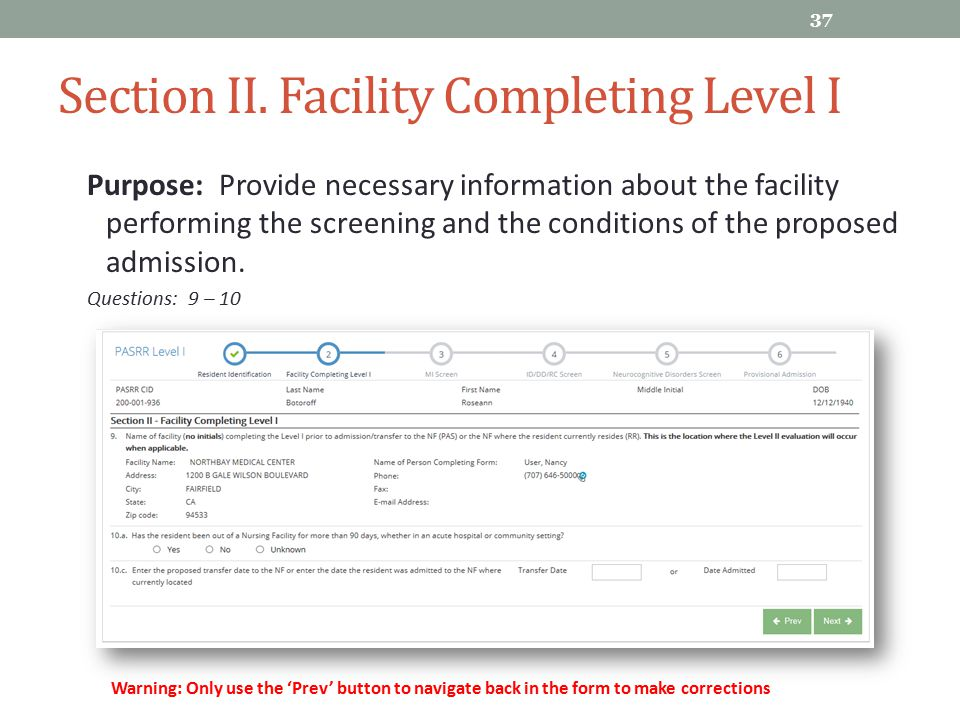 Section II. Facility Completing Level I