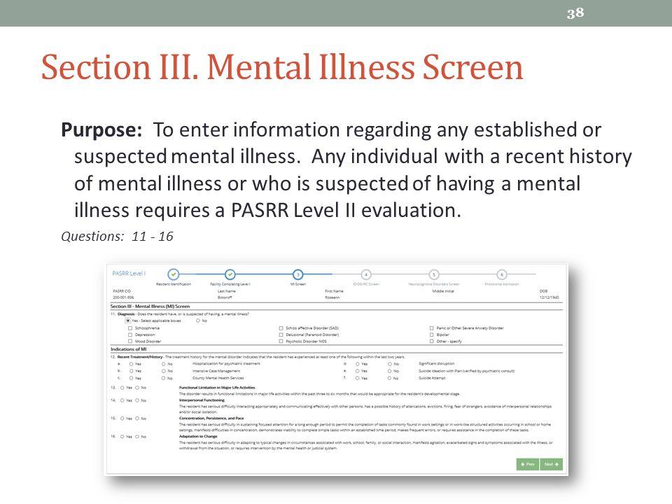 Section III. Mental Illness Screen