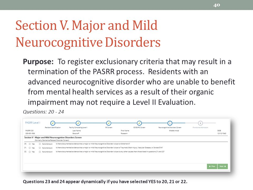 Section V. Major and Mild Neurocognitive Disorders
