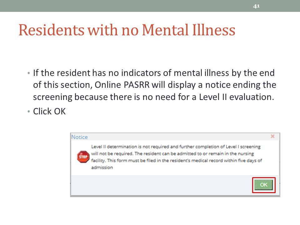 Residents with no Mental Illness