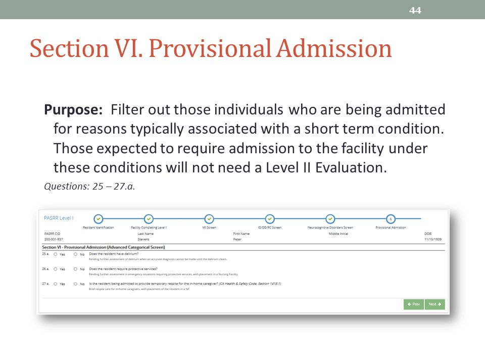 Section VI. Provisional Admission