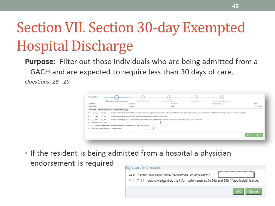 Section VII. Section 30-day Exempted Hospital Discharge