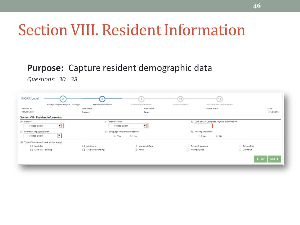 Section VIII. Resident Information