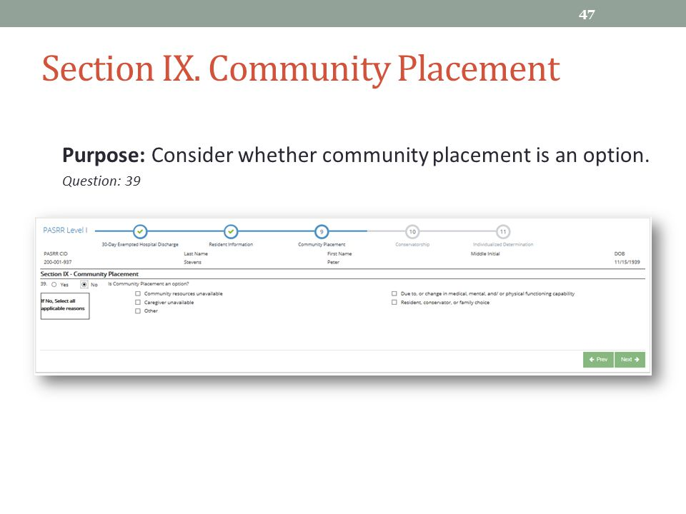 Section IX. Community Placement
