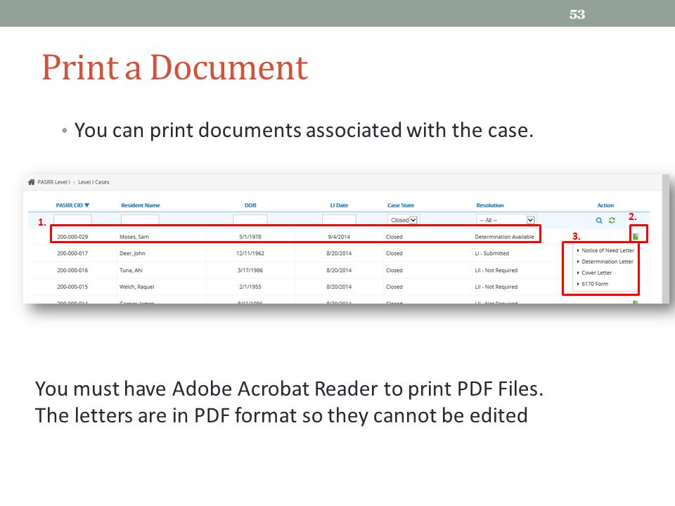 Print a Document You can print documents associated with the case.