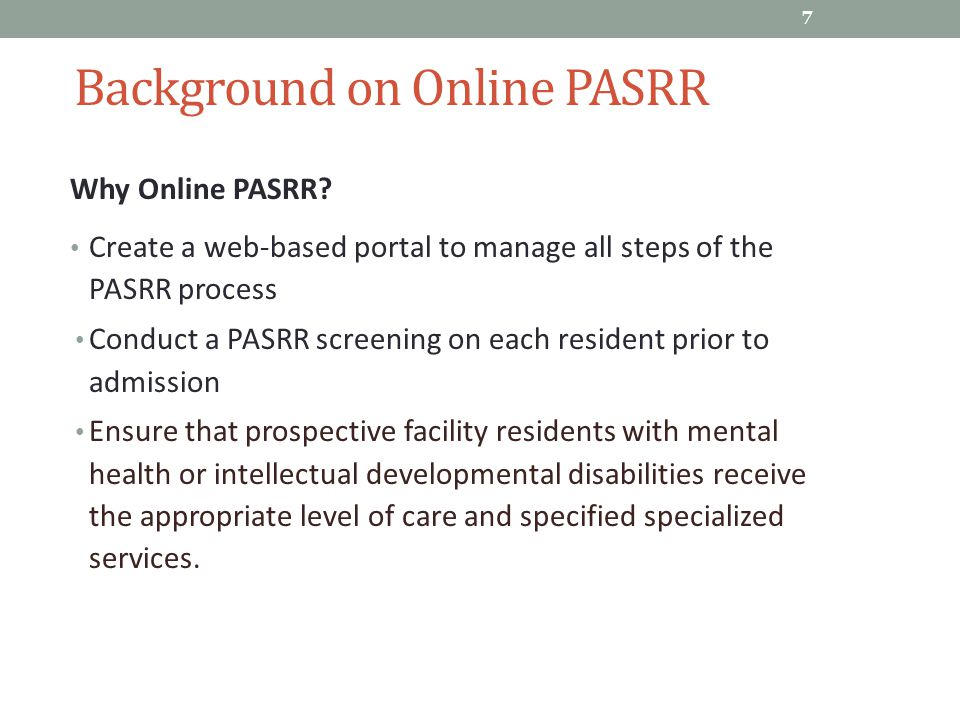 Background on Online PASRR