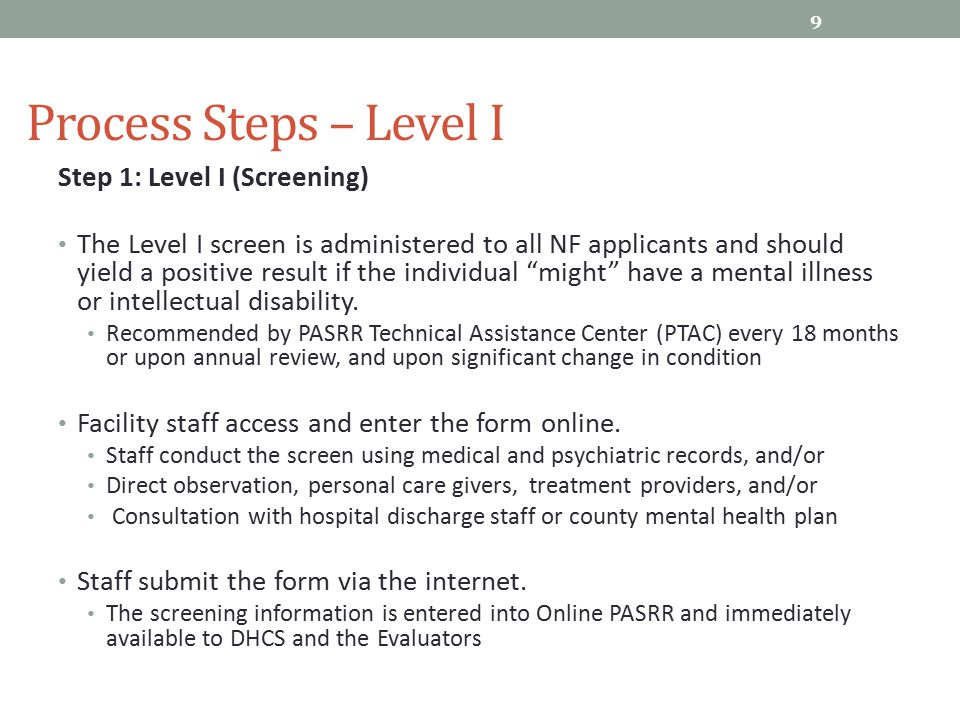 Process Steps – Level I Step 1: Level I (Screening)