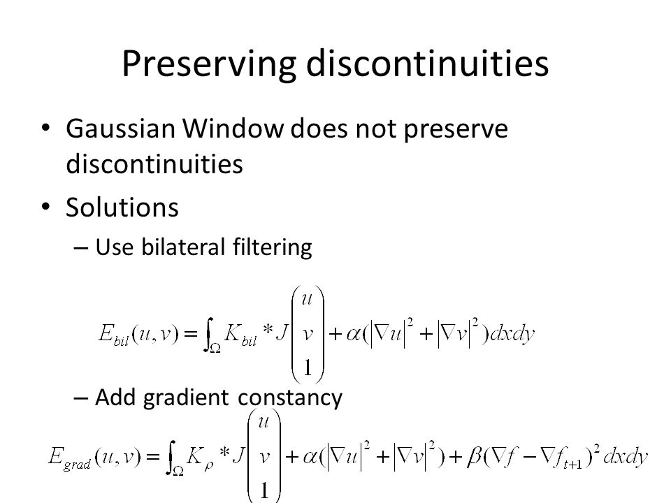Preserving discontinuities