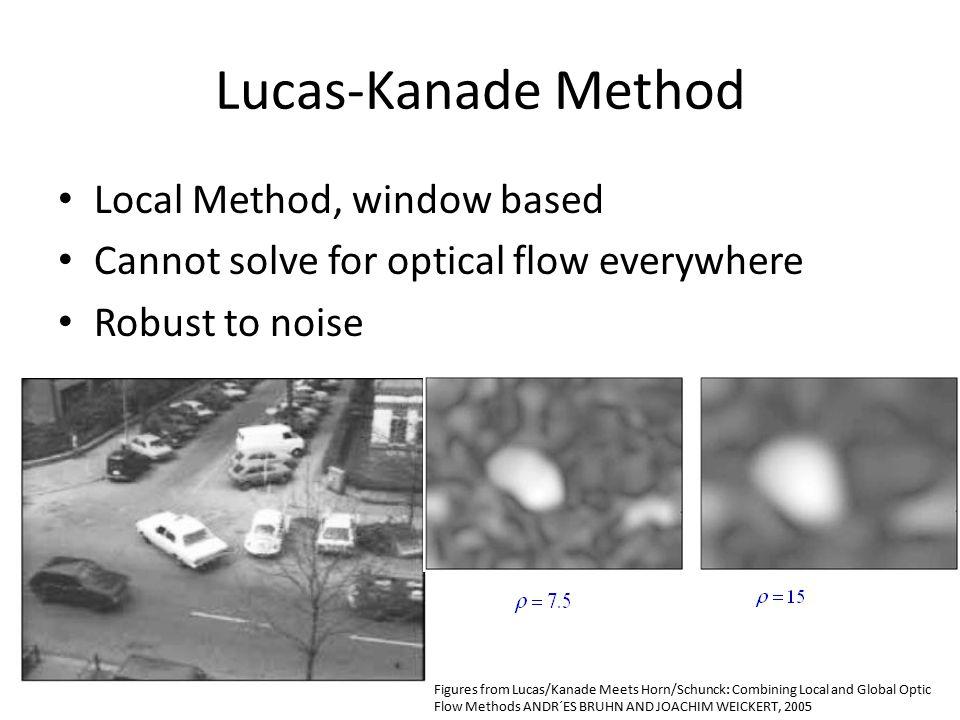 Lucas-Kanade Method Local Method, window based