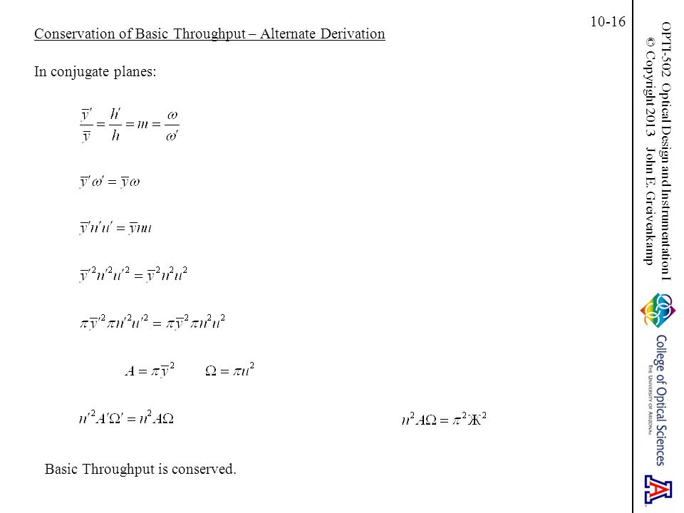 Conservation of Basic Throughput – Alternate Derivation
