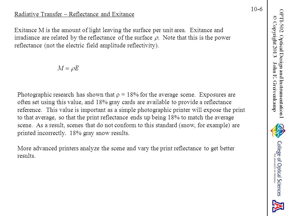 Radiative Transfer – Reflectance and Exitance