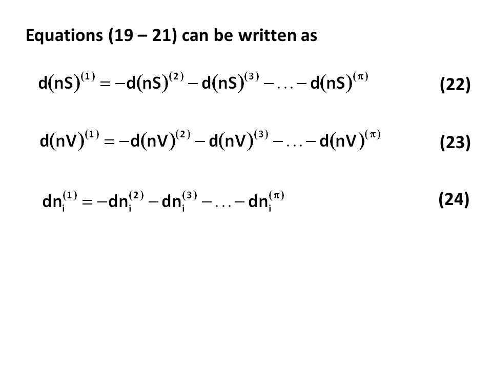 Equations (19 – 21) can be written as