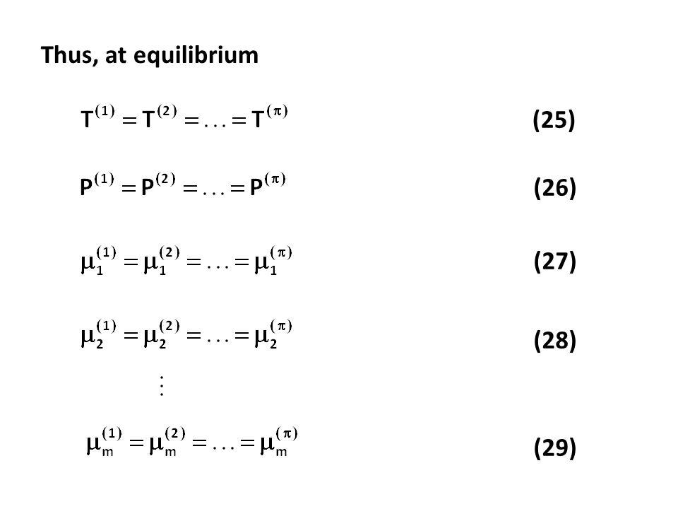 Thus, at equilibrium (25) (26) (27) (28) (29)