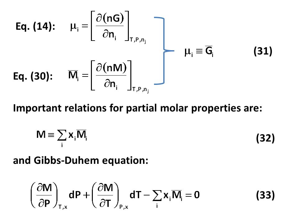 Eq. (14): (31) Eq. (30): Important relations for partial molar properties are: (32) and Gibbs-Duhem equation: