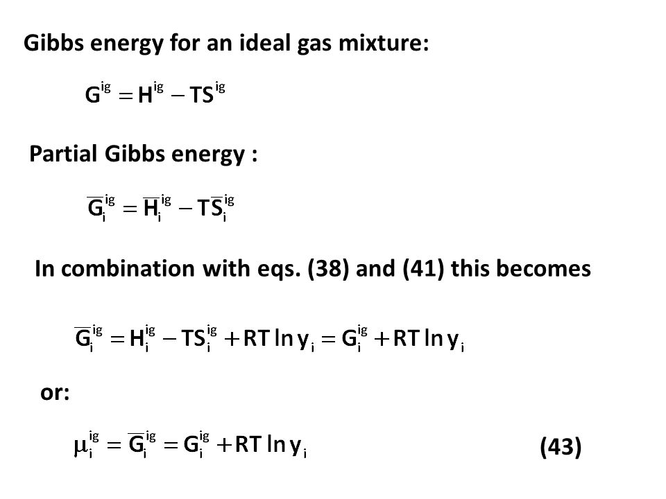 Gibbs energy for an ideal gas mixture:
