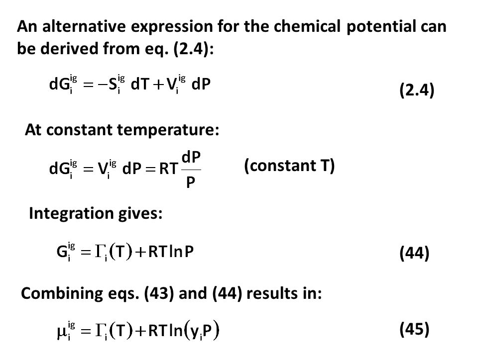 An alternative expression for the chemical potential can be derived from eq. (2.4):
