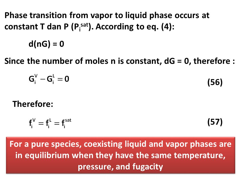 Phase transition from vapor to liquid phase occurs at constant T dan P (Pisat). According to eq. (4):
