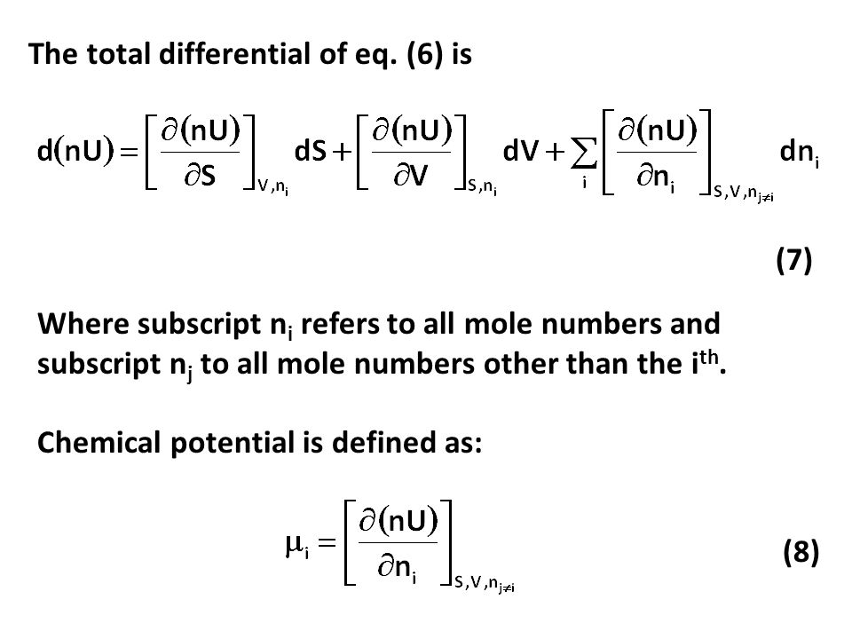 The total differential of eq. (6) is
