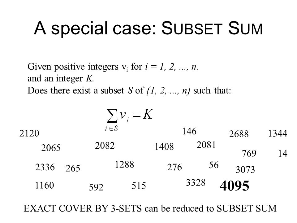 A special case: SUBSET SUM