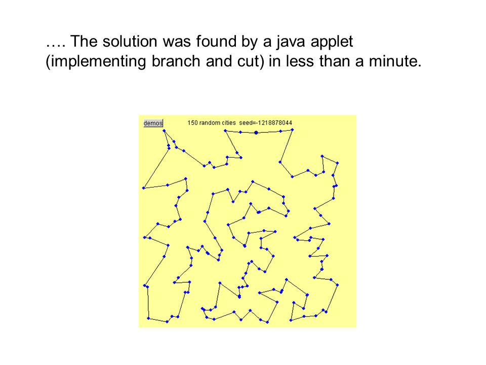 …. The solution was found by a java applet