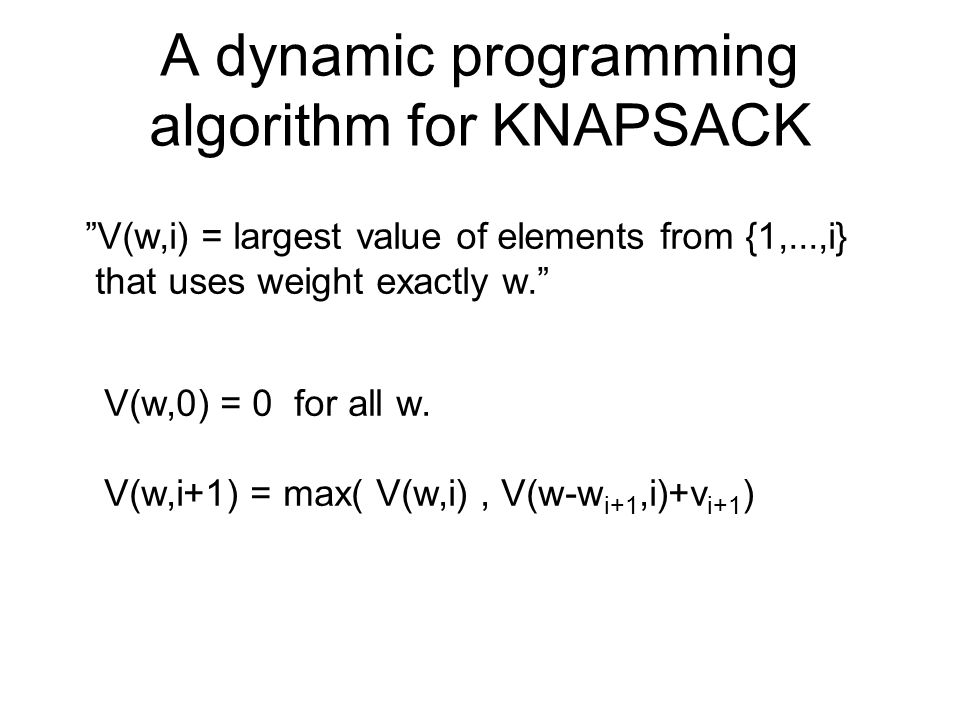 A dynamic programming algorithm for KNAPSACK