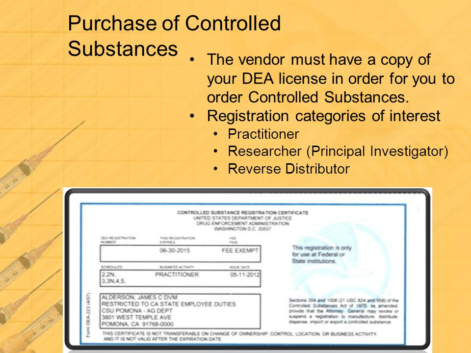 Purchase of Controlled Substances