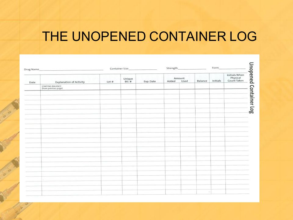 THE UNOPENED CONTAINER LOG