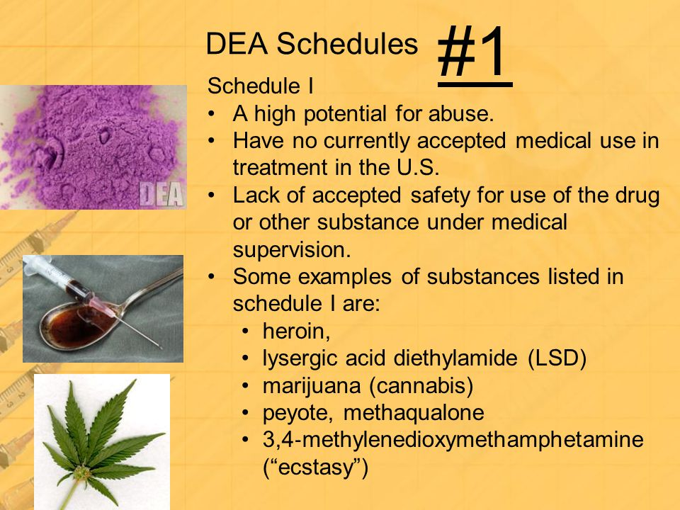 #1 DEA Schedules Schedule I A high potential for abuse.