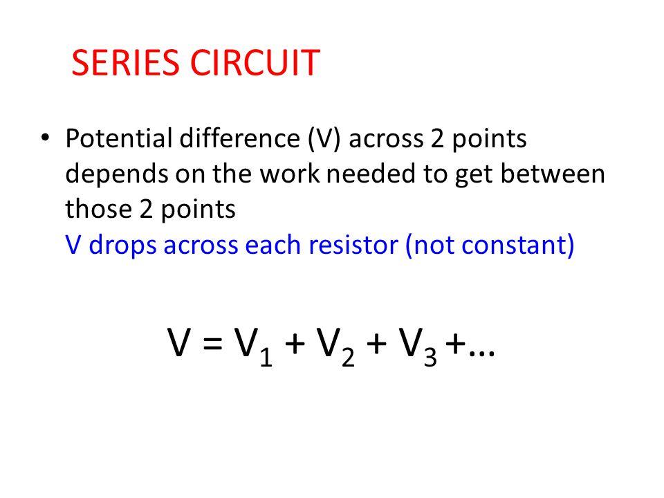 V = V1 + V2 + V3 +… SERIES CIRCUIT