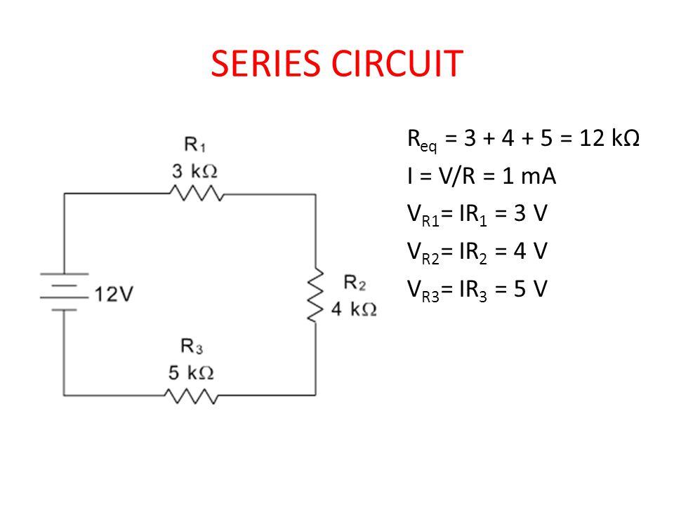 SERIES CIRCUIT Req = 3 + 4 + 5 = 12 kΩ I = V/R = 1 mA VR1= IR1 = 3 V VR2= IR2 = 4 V VR3= IR3 = 5 V